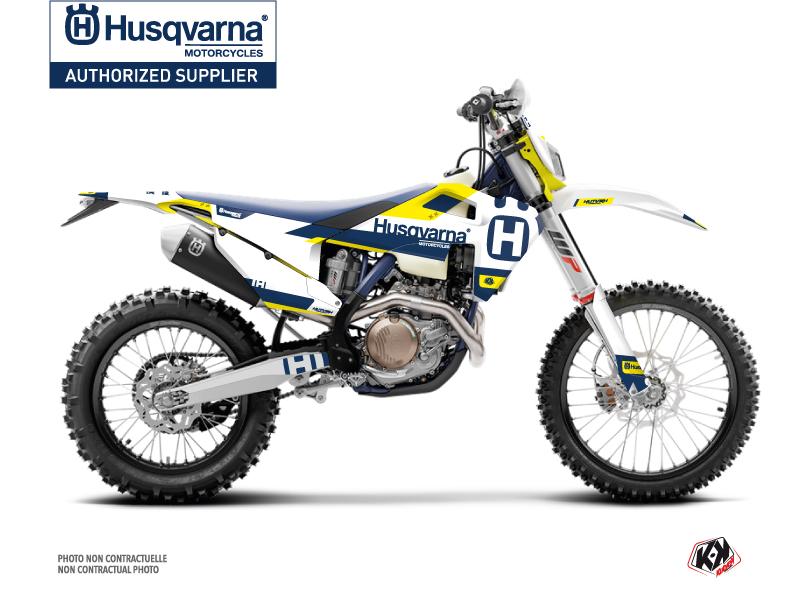 Husqvarna 125 TE Dirt Bike Block Graphic Kit Blue Yellow