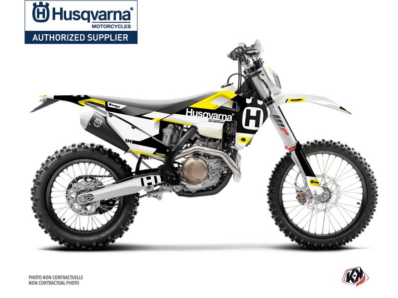 Husqvarna 300 TE Dirt Bike Block Graphic Kit Black Yellow