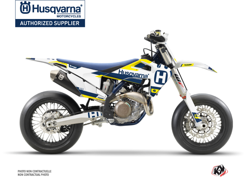 Husqvarna 450 FS Dirt Bike Block Graphic Kit Blue Yellow