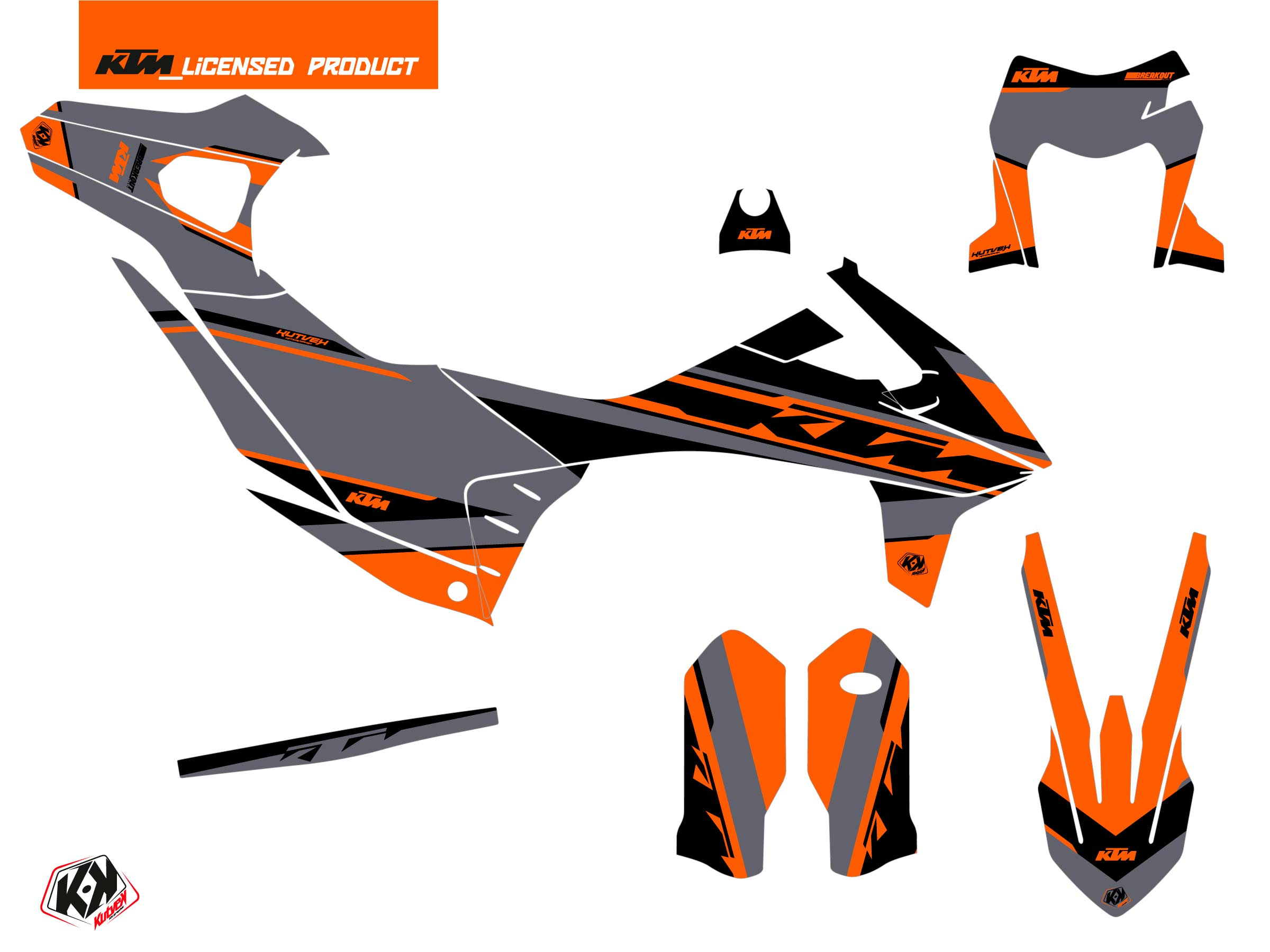 Kit Déco Moto Cross Breakout KTM 690 ENDURO R Gris