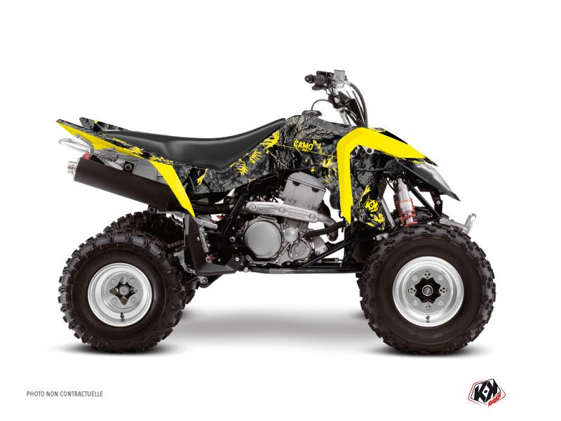 Suzuki 400 LTZ IE ATV Camo Graphic Kit Black Yellow