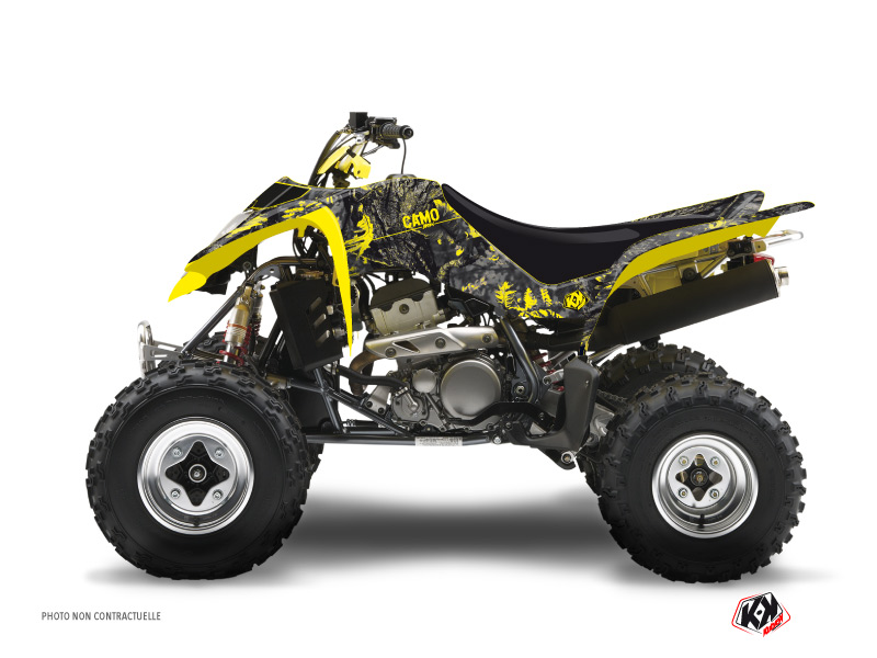 Suzuki 400 LTZ ATV Camo Graphic Kit Black Yellow