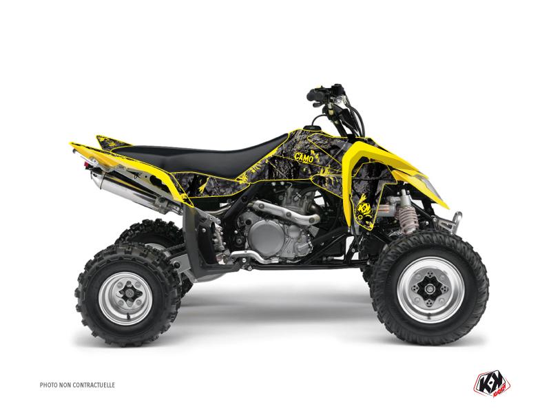 Suzuki 450 LTR ATV Camo Graphic Kit Black Yellow
