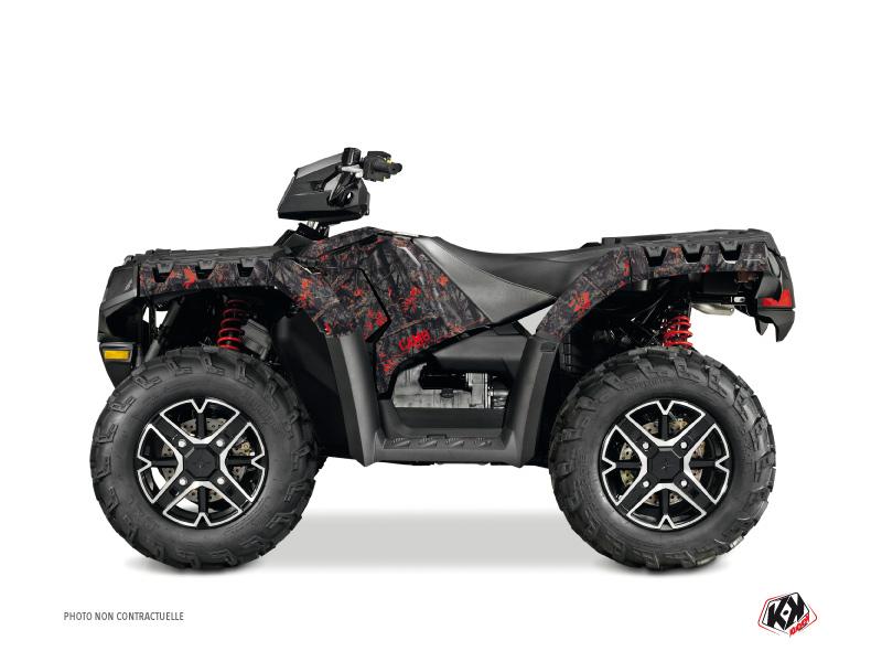 Polaris 500-800 Sportsman Forest ATV Camo Graphic Kit Black Red