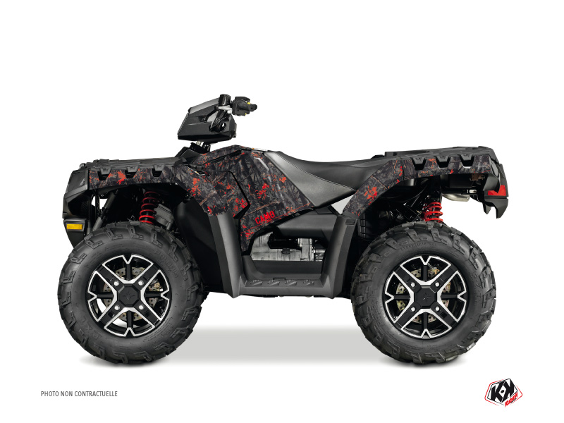 Polaris 550-850-1000 Sportsman Touring ATV Camo Graphic Kit Black Red