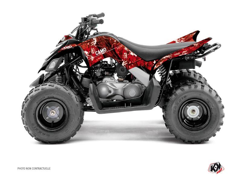 Yamaha 90 Raptor ATV Camo Graphic Kit Red