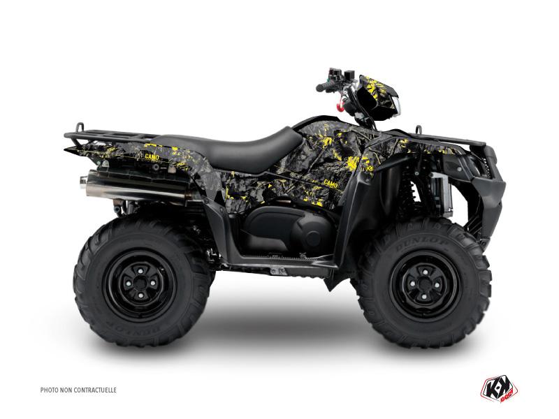 Suzuki King Quad 400 ATV Camo Graphic Kit Black Yellow