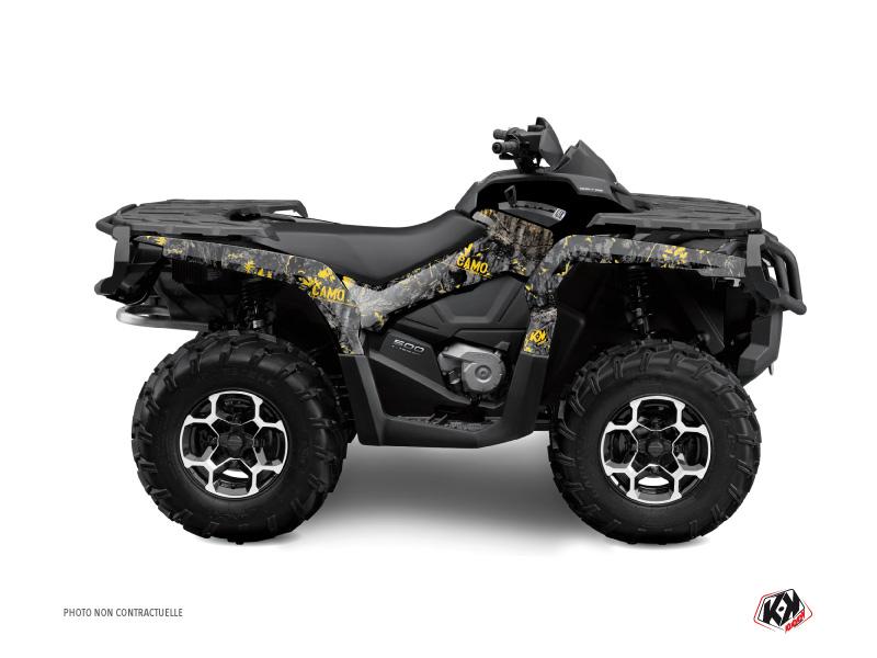 Can Am Outlander 500-650-800 XTP ATV Camo Graphic Kit Black Yellow