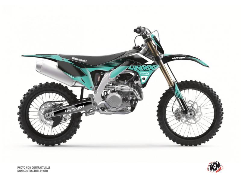 Kawasaki 250 KXF Dirt Bike Claw Graphic Kit Turquoise
