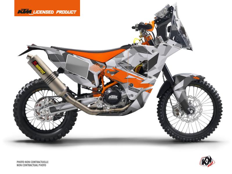 KTM 450 Rally Dirtbike Delta Graphic Kit Grey Orange