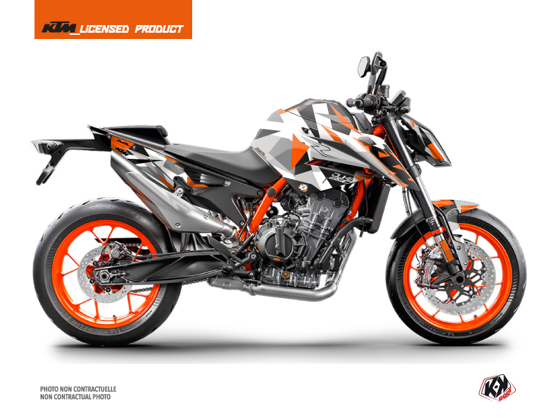 KTM Duke 890 R Street Bike Delta Graphic Kit White Orange