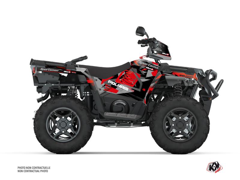 Kit Déco Quad Elka Polaris 450 Sportsman Gris Rouge