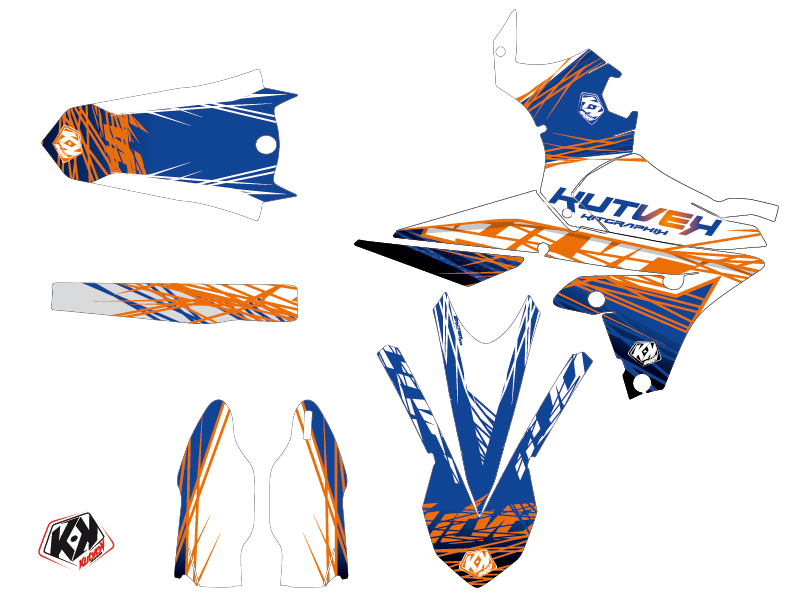 Yamaha 450 YZF Dirt Bike Eraser Graphic Kit Blue Orange LIGHT