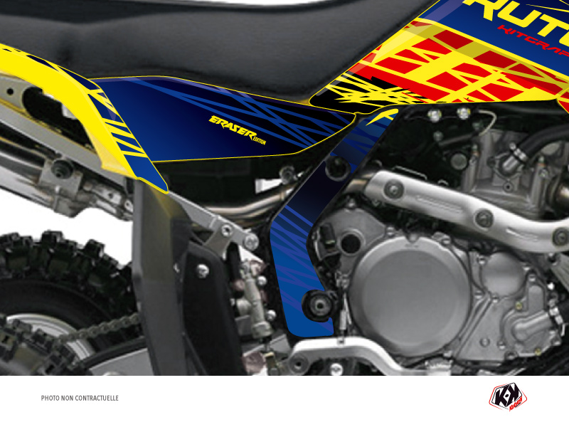 Graphic Kit Frame protection ATV Eraser Suzuki 450 LTR Blue Yellow x3