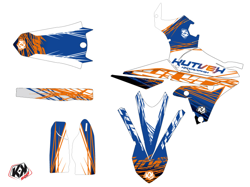 Yamaha 450 WRF Dirt Bike Eraser Graphic Kit Blue Orange LIGHT