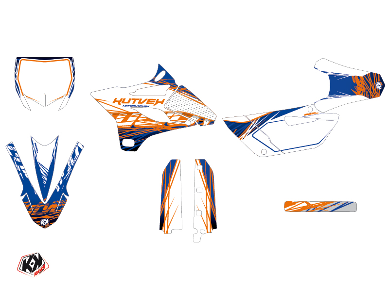 Yamaha 85 YZ Dirt Bike Eraser Graphic Kit Blue Orange