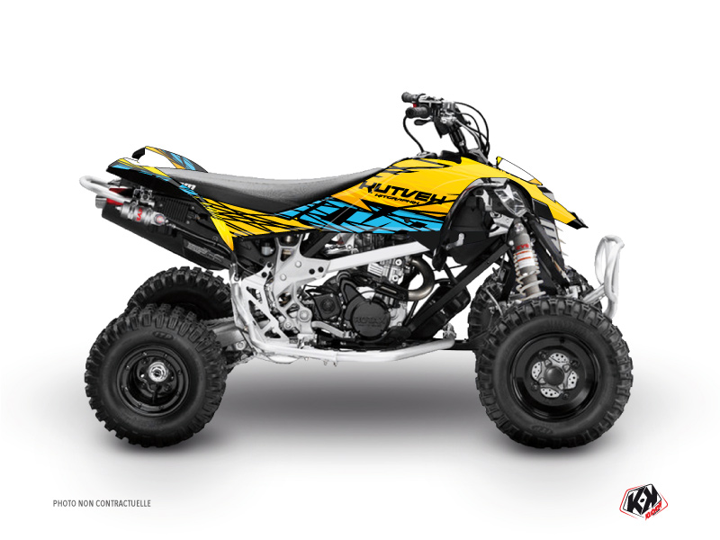 Can Am DS 450 ATV Eraser Graphic Kit Yellow Blue