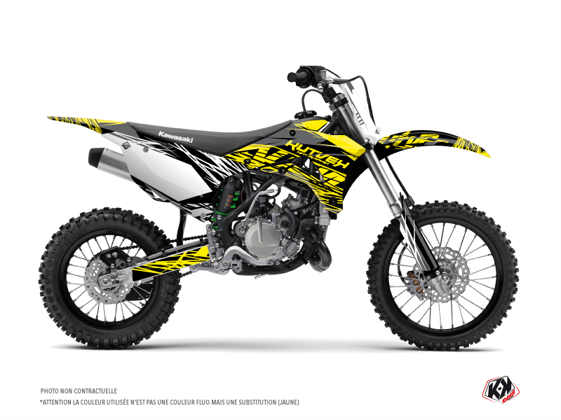 Kawasaki 110 KLX Dirt Bike Eraser Fluo Graphic Kit Yellow