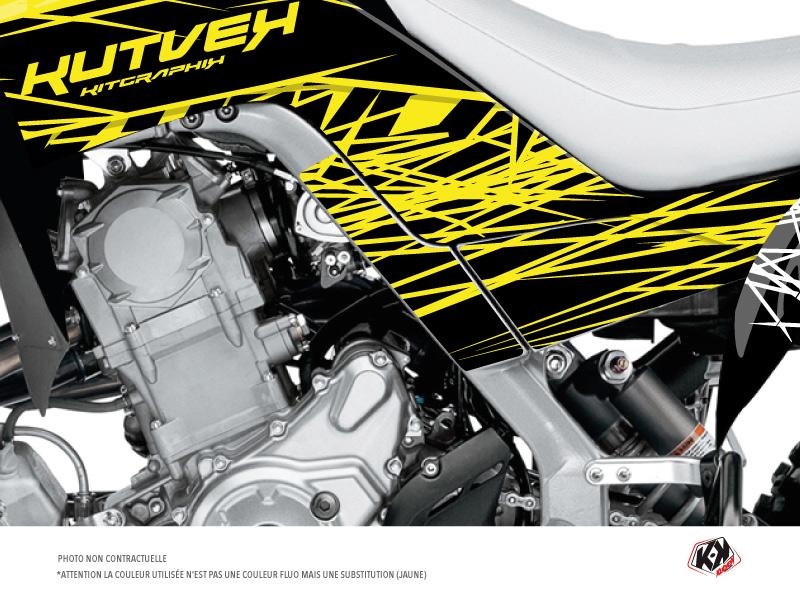 Graphic Kit Frame protection ATV Eraser Fluo Yamaha 700 Raptor 2013-2019 Yellow x3