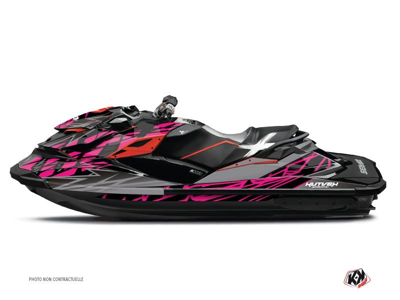 Seadoo GTR-GTI Jet-Ski Eraser Graphic Kit Grey Pink
