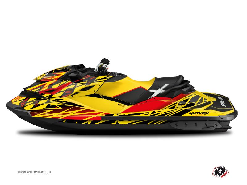 Seadoo GTR-GTI Jet-Ski Eraser Graphic Kit Red Yellow