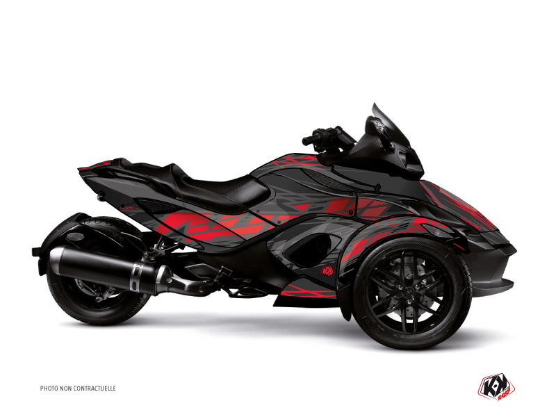 Can Am Spyder RS Roadster Eraser Graphic Kit Grey Red