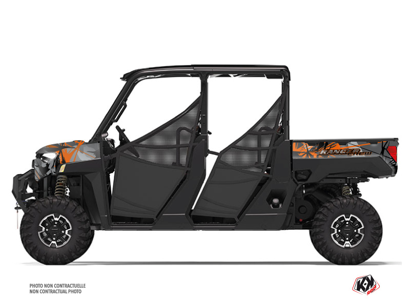 Polaris Ranger Crew UTV Evil Graphic Kit Grey Orange