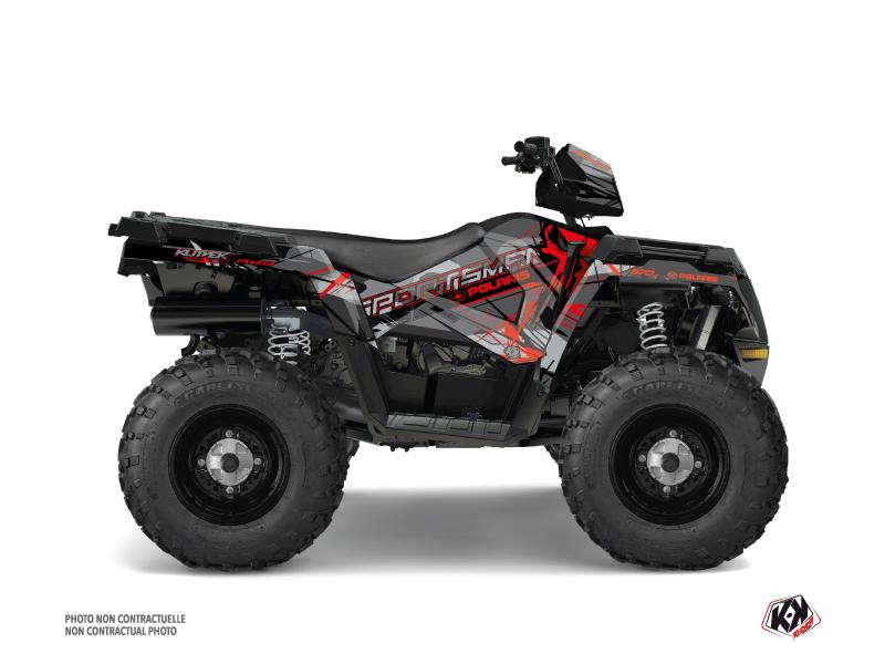 Polaris 570 Sportsman Touring ATV Evil Graphic Kit Grey Red