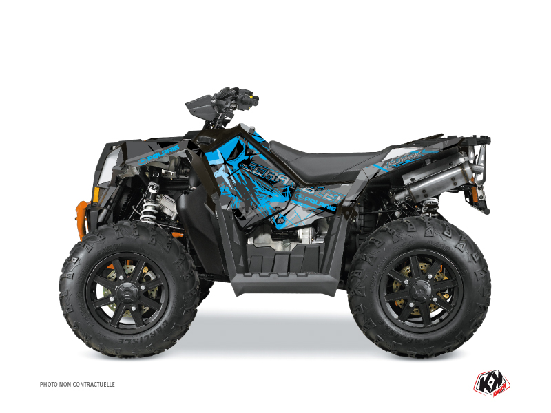 Polaris Scrambler 850-1000 XP ATV Evil Graphic Kit Grey Blue FULL