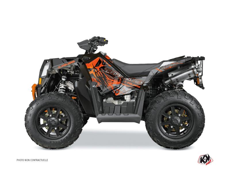 Polaris Scrambler 850-1000 XP ATV Evil Graphic Kit Grey Orange FULL