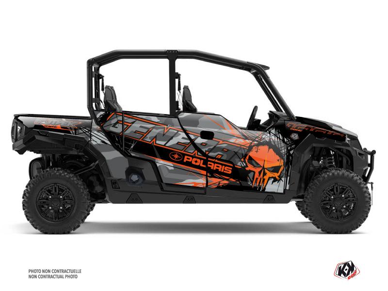 Polaris GENERAL 1000 4 doors UTV Evil Graphic Kit Grey Orange