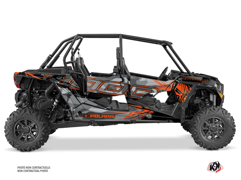 Polaris RZR 1000 4 doors UTV Evil Graphic Kit Grey Orange