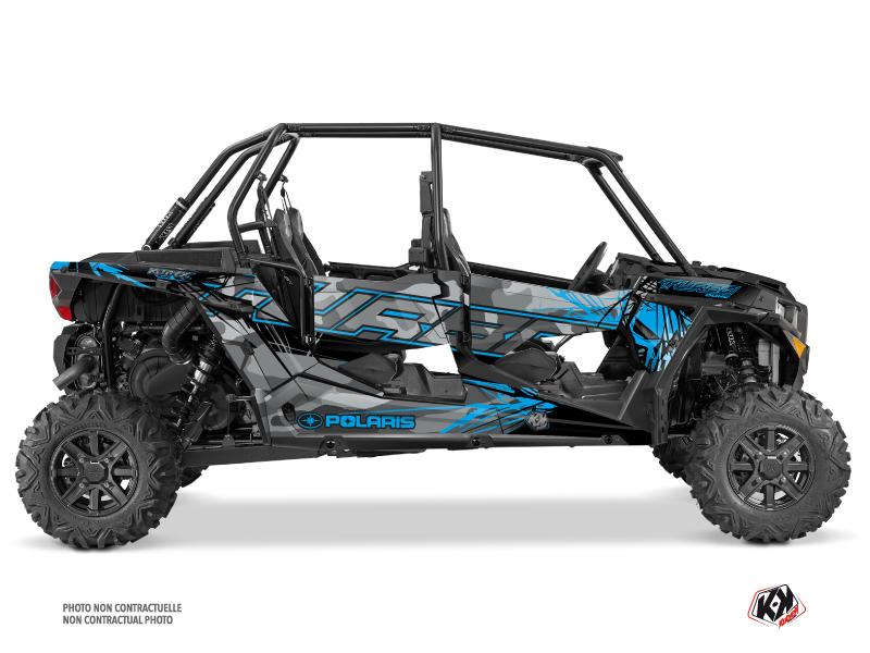 Polaris RZR 1000 Turbo 4 doors UTV Evil Graphic Kit Grey Blue