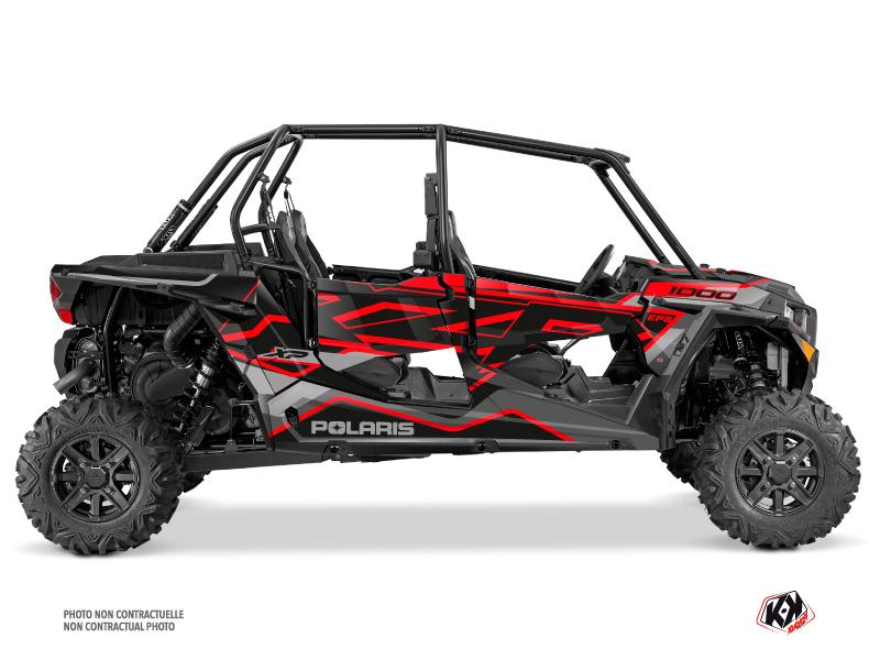 Polaris RZR 1000 4 doors UTV Faster Graphic Kit Black Red
