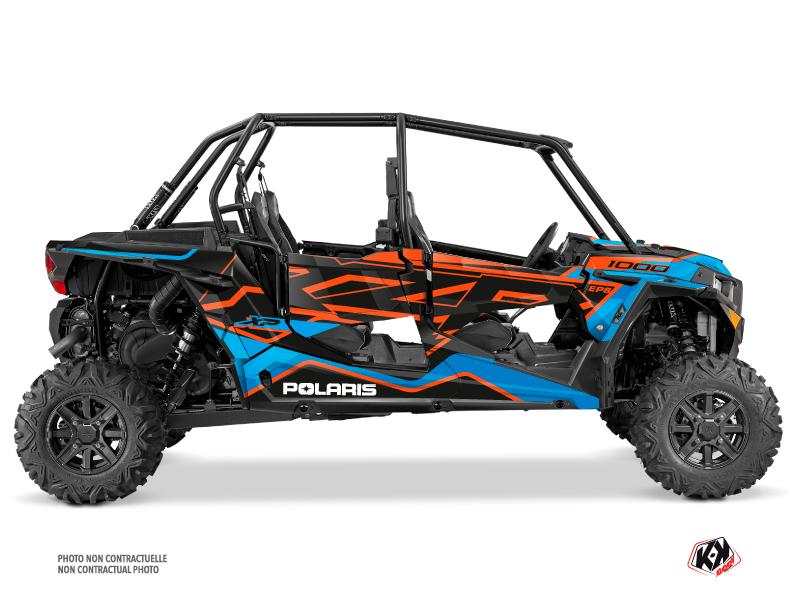 Polaris RZR 1000 4 doors UTV Faster Graphic Kit Orange Blue