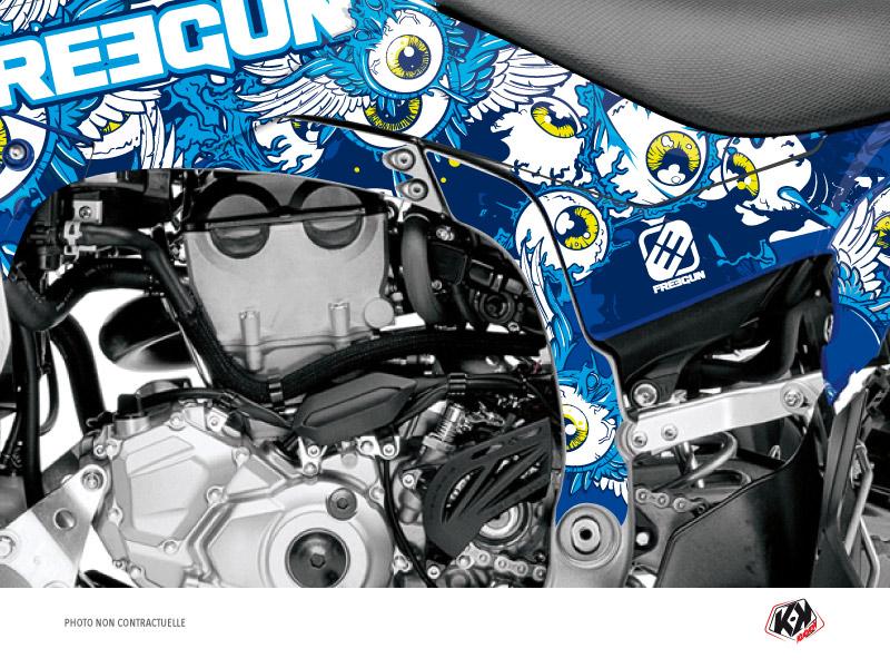 Graphic Kit Frame protection ATV Freegun Yamaha 450 YFZ-R 2014-2019 Blue x3