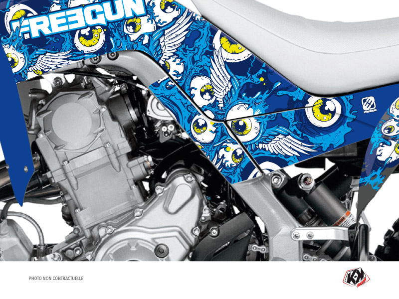 Graphic Kit Frame protection ATV Freegun Yamaha 700 Raptor 2013-2019 Blue x3