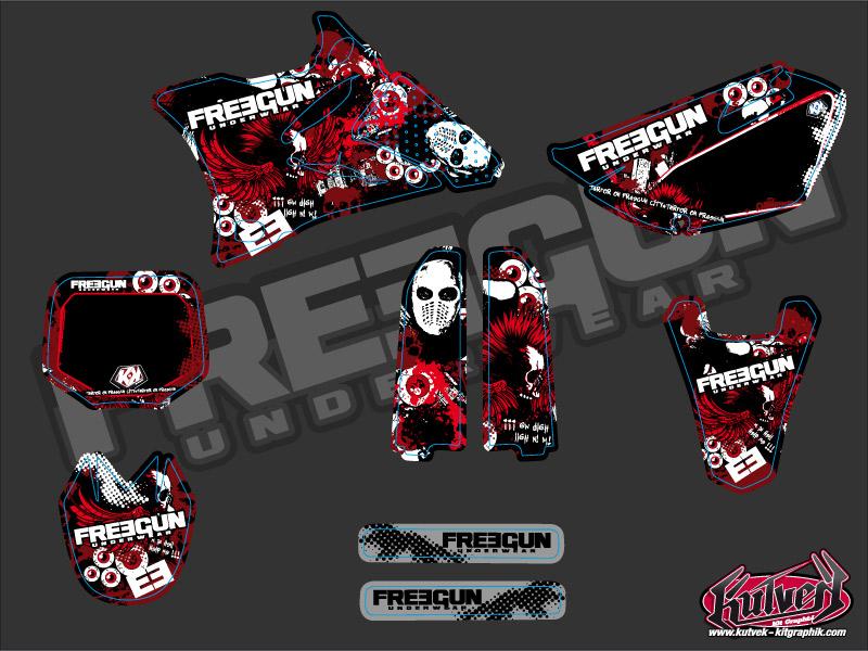 Yamaha 85 YZ Dirt Bike Freegun Graphic Kit Red