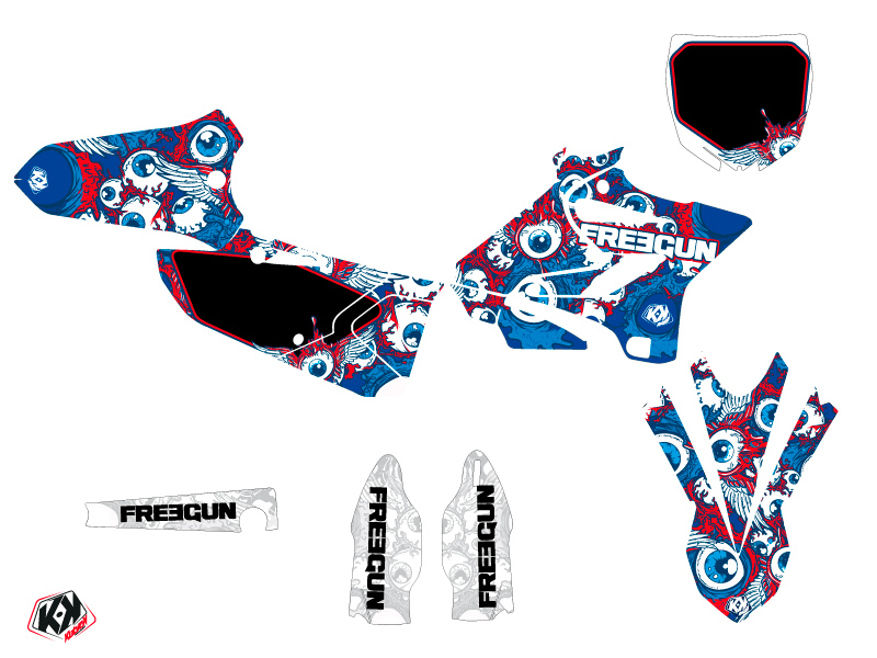 Kit Déco Moto Cross Freegun Eyed Yamaha 125 YZ Rouge
