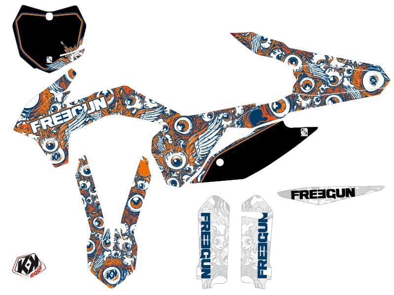 KTM 250 SX Dirt Bike Freegun Eyed Graphic Kit Orange