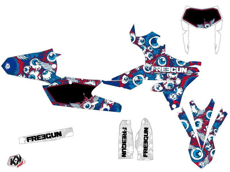 Yamaha 250 WRF Dirt Bike Freegun Eyed Graphic Kit Red