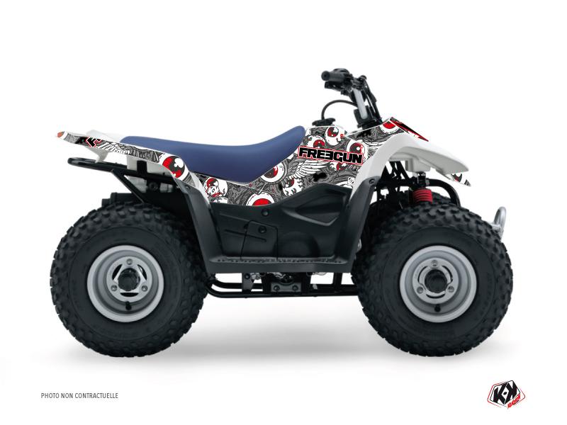 Suzuki 50 LT ATV Freegun Eyed Graphic Kit Grey Red