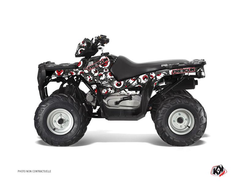 Polaris 90 Sportsman ATV Freegun Eyed Graphic Kit Grey Red