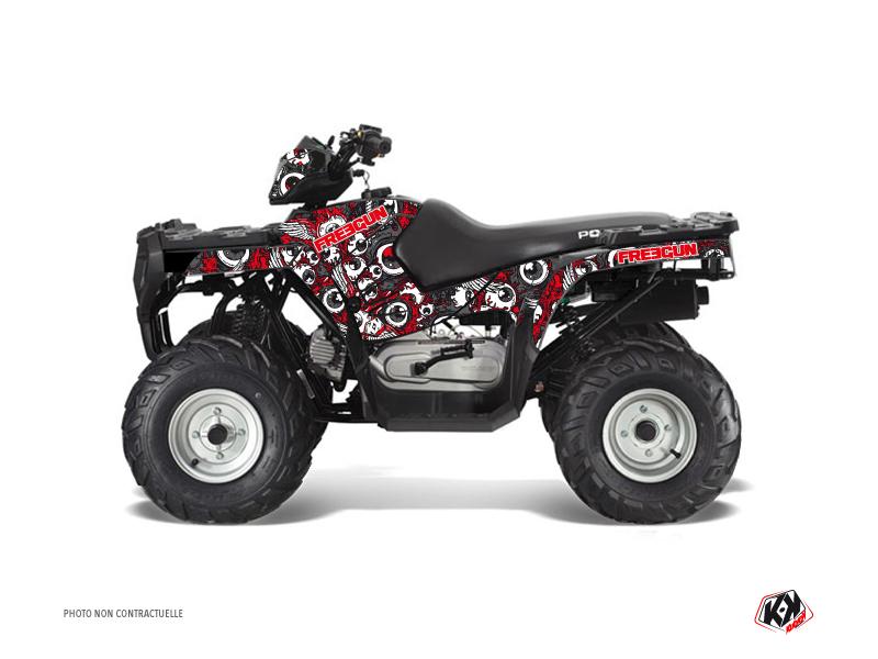 Polaris 90 Sportsman ATV Freegun Eyed Graphic Kit Red Grey
