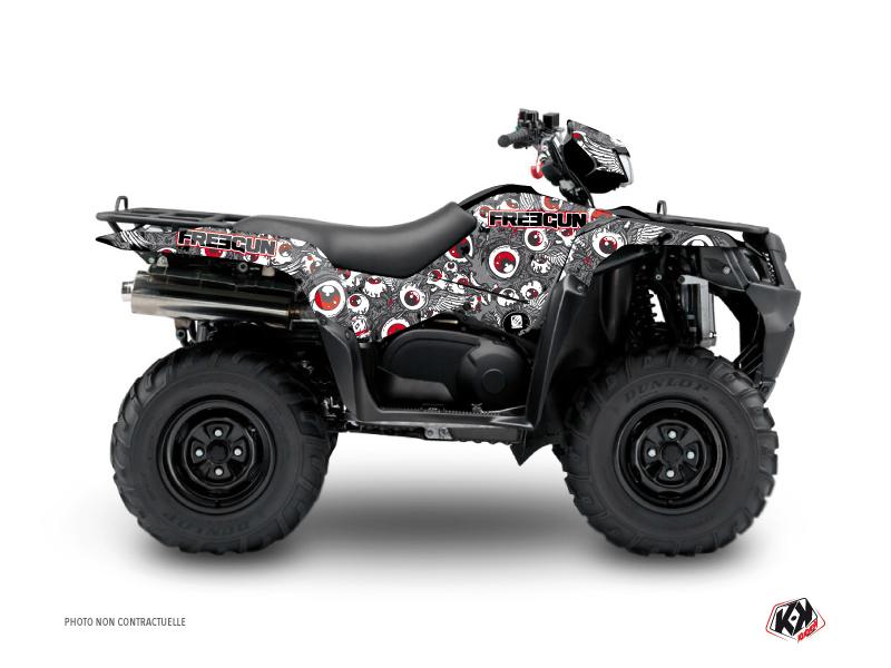 Suzuki King Quad 400 ATV Freegun Eyed Graphic Kit Grey Red