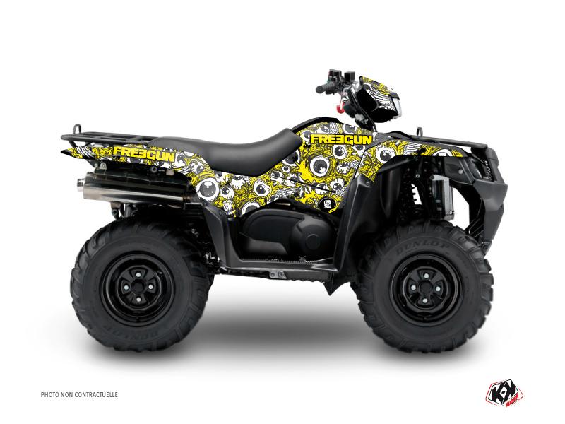 Suzuki King Quad 400 ATV Freegun Eyed Graphic Kit Yellow