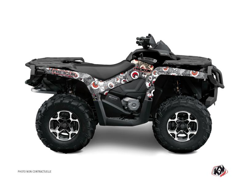 Can Am Outlander 500-650-800 XTP ATV Freegun Eyed Graphic Kit Grey Red