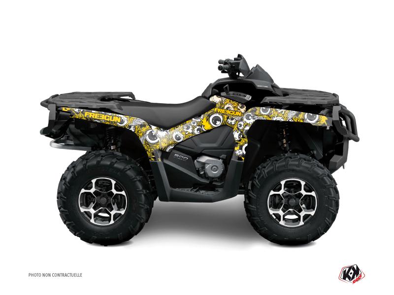 Can Am Outlander 500-650-800 XTP ATV Freegun Eyed Graphic Kit Yellow