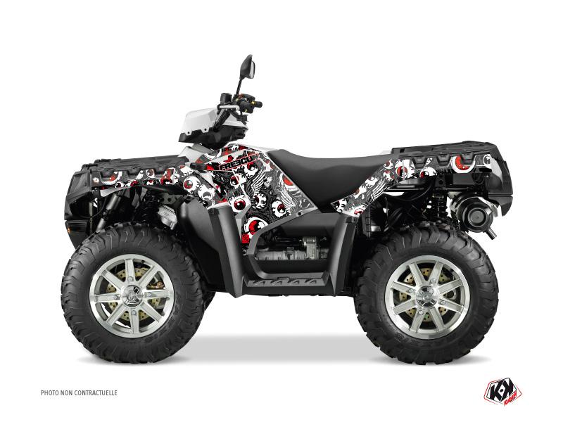 Polaris 500-800 Sportsman Forest ATV Freegun Eyed Graphic Kit Grey Red