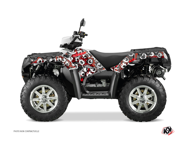 Polaris 500-800 Sportsman Forest ATV Freegun Eyed Graphic Kit Red Grey